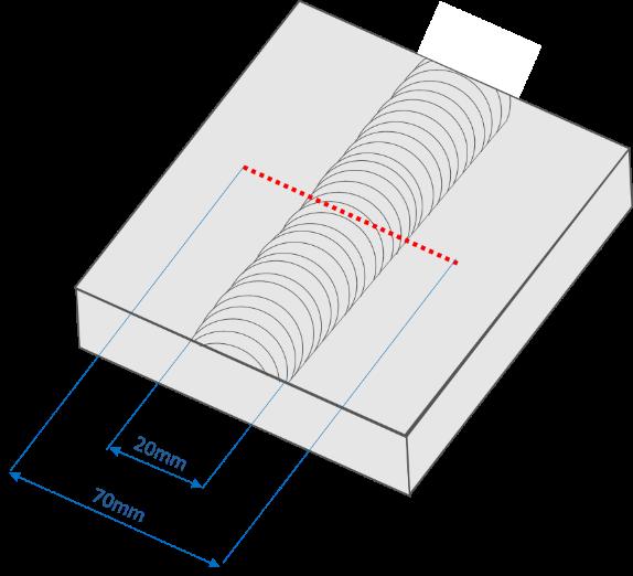 Diagram of the sample residual stress measurement location.